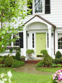 light spring green with yellow undertones for door color with dark railing option (high gloss paint finish)