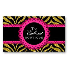Chic Zebra Pink Lace Fashion Jewelry Boutique Business Card Template