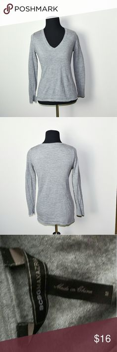 BCBG Maxazaria Grey Soft Flowy Shirt In excellent condition! Very comfortable, lightweight, and flattering! Buy 3 items and get 1 free plus 15% off your purchase total BCBGMaxAzria Tops Blouses