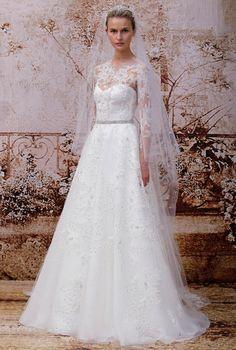To see more fabulous Monique Lhuillier wedding dresses: http://www.modwedding.com/2014/11/15/editors-pick-beautiful-monique-lhuillier-wedding-dresses/ #wedding #weddings #wedding_dresses
