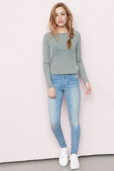 Jeggings so soft youre gonna want to live in them - Buena Blue High Waist Jegging Casual Winter Outfits, Simple Outfits, Classy Outfits, Stylish Outfits, Casual Wear, Teenager Outfits, College Outfits, Girl Outfits, Style École