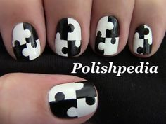 Black & White is back with this chic design!    Watch My Video Tutorial @ http://polishpedia.com/puzzle-nail-art.html