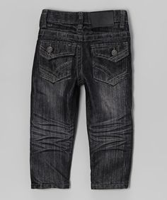 Take a look at this Rebel Denim Dark Wash Angled Pocket Embroidered Jeans - Toddler & Boys on zulily today!