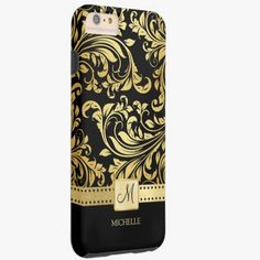 iPhone 6 Plus Cases | Elegant Black and Gold Damask with Monogram Tough iPhone 6 Plus Case