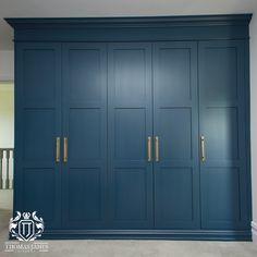 Built In Wardrobe Doors, Painted Wardrobe, Oak Wardrobe, Wardrobe Door Designs, Wardrobe Design Bedroom, Modern Bedroom Design, Navy Bedrooms, Fitted Bedrooms, Blue Fitted Wardrobes