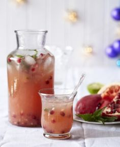 'I like to add lots of fresh pomegranate seeds to the glass. I just love to suck the pips clean; they are so swollen with juice and rich in antioxidants! Fresh Lime Juice, Fresh Mint, Punch Recipes, My Recipes, Jenny Morris, Juice Smoothie, Smoothies, Recipe Directions, Pomegranate Seeds