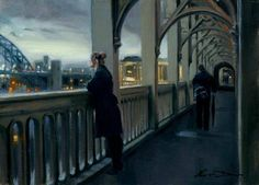 Looking over the High Level Bridge. Painting by Kevin Day.