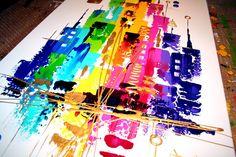 """""""Peintures Acryliques, PEINTURE TABLEAU OEUVRE ART ABSTRAIT SUR TOILE est une création orginale de acryliks sur DaWanda"""