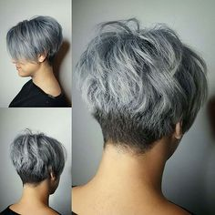 25 Short Undercut Hairstyles That Look Great On Everyone - The Best Short Hairstyle Ideas Short Stacked Hair, Short Hair Back, Short Grey Hair, Short Hair With Layers, Short Hair Cuts For Women, Silver Blonde Hair, Blonde Hair Looks, Short Hair Images, Short Hair Styles