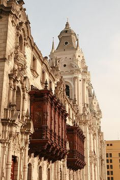 Wooden balconies on Archbishops Palace in Lima, Peru