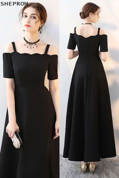 Shop Simple Maxi Long Black Formal Dress with Cold Shoulder online. SheProm offers formal, party, casual & more style dresses to fit your special occasions. Modest Homecoming Dresses, Modest Dresses, Trendy Dresses, Casual Dresses, Fashion Dresses, Formal Dresses, Long Dresses, Long Dress Formal, Frock For Women