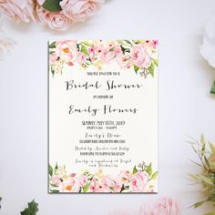 Watercolor floral bridal shower Printable by HappyLifePrintables