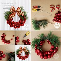 Easy Christmas Bauble Wreath Made with a Wire Hanger - http://www.amazinginteriordesign.com/easy-christmas-bauble-wreath-made-wire-hanger/