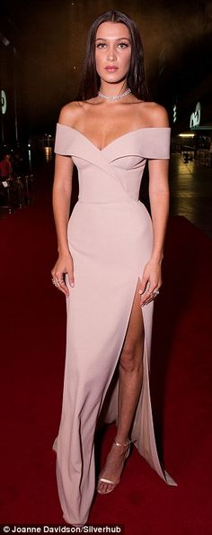 Elegant: The young model looked divine in her off the shoulder dress on Tuesday…