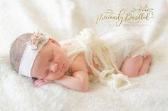 Cream Newborn Girl Romper  Lace Baby Romper  cream Romper