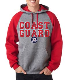 adf7a2b1 COAST GUARD RAGLAN HOODIE US Hooded Sweatshirt Military United States USCG  Army #RockCityThreads #Hoodie