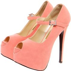 Royah Coral Peeptoe Ankle Strap Heels ($40) ❤ liked on Polyvore