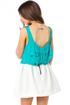 Coletta Bow Tank in Teal