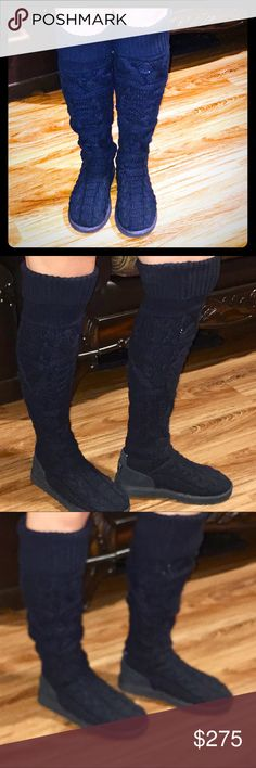 NWOT UGG Black Over The Knee Size 8 Orig $350 + $35 tax= $385 - SAVE $$$  Brand NEW-never worn except to try on for fit & pics LOOK @ the SOLES & you can tell they are BRAND NEW Black pair of Over the knee, knit UGGS. They can be worn over the knee; up to the knee or slouched.  See ALL pics, 4 different styles.   I forgot to take a pic w them over the knee. But there's an example posted of SAME boots, just a different color   They need to go to someone who will actually wear them :)…