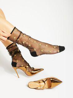 Aura Sheer Sock | Sheer nylon socks featuring allover metallic embroidered stars.