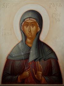 Paraskeva (Parascheva) by Gabriel Toma Chituc Orthodox Icons, Religious Art, Fresco, Gabriel, Mona Lisa, Saints, Christian, Statue, Artwork