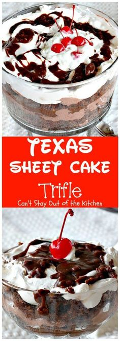 "Texas Sheet Cake Trifle is nothing short of ""sinful,"" according to my friends. It's so rich, so decadent, so chocolaty, so mouthwatering you won't want to stop eating bite after delectable bite. This"