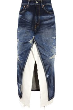 Junya Watanabe | Split-front distressed denim skirt | NET-A-PORTER.COM ~~$895 for what looks like a 'what to do with your old jeans' pinterest DIY project.~~