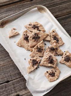 I Quit Sugar recipe - Almond Butter Bark by Sarah Wilson check Tahini and Pistacio option Sugar Free Recipes, Vegan Recipes Easy, Organic Recipes, Real Food Recipes, Dessert Recipes, Raw Desserts, Skinny Recipes, Amazing Recipes, Keto Recipes