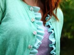 9. Dyed and #Ruffled - 10 Cute DIY Cardigans ... → #Lifestyle #Cardigan