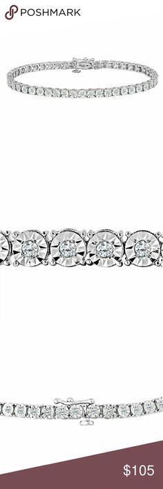 Sterling Silver Round-Cut Diamond Tennis Bracelet Beautiful, low cost diamond bracelet. Looks big for the diamond size. Wrist size 7. Jewelry Bracelets