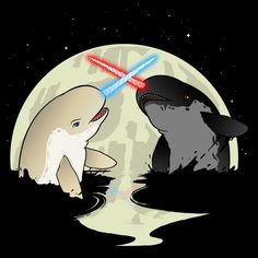 Tee and more - The epic story of Father versus Son, appropriately retold as Narwhals battling in the moonlight. :)
