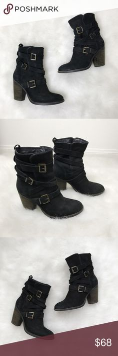 Steve Madden Rutgers Black Leather Boots🖤💐 Steve Madden Rutgers Black Leather Boots🖤💐 Size: 8.5 Condition: Used (worn once)  Leather Black Booties. Worn once for a Trendy photo shoot. They do not come with box, are in great condition, perfect to pair with leggings & jeans. They are slip ones and can adjust by the straps, heel height is approx 3.5 inches. Are a very soft leather. Grab these while you can 😊  In Bin: F3 **All items from my closet come from a SMOKE FREE home** Steve Madden…
