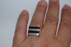 Mans MODERNIST ONYX STERLING Silver Ring Size 10 via Etsy