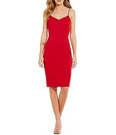 Red Strappy Sweatheart Neck Slip Dress from #Dillards. Use your Borderlinx.com address for international shipping.