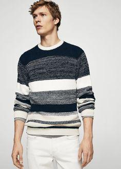 Textured striped cotton sweater | MANGO MAN