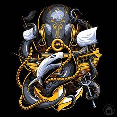 Kraken by anggatantama on DeviantArt Kraken, Beautiful Artwork, Cool Artwork, Arte Peculiar, Samurai Art, Nautical Art, Dope Art, Fantastic Art, Vector Art