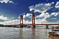 Ampera bridge #Indonesia #Palembang Palembang, Nikon Dslr, Golden Gate Bridge, Marina Bay Sands, Painting Inspiration, Bridges, Decoupage, Art Drawings, Bts