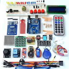 Arduino kit for 230SR  Package Included: 1 X UNO Board 1 X USB Cable 1 X Jump Cable 1 X Breadboard 5 X LED Light 1 Pack Resistor 1 X Female to male dupond line 1 X Potentiometer 1 X Buzzer  1 X 74HC595 1 X Infrared receiver 1 X LM35 1 X Flame Sensor 1 X Ball Switch 1 X Photoresistor 1 X Key button 1 X Remote control 1 X 4-digit display tube 1 X 88 Dot matrix module 1 X 1-digit display tube 1 X Stepper motor driver board 1 X Stepper motor 1 X 9g Servo 1 X IIC 1602 LCD 1 X XY joystick module 1…