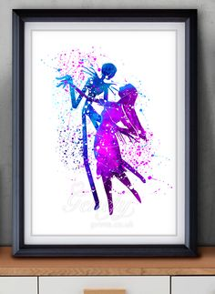 The Nightmare Before Christmas Jack and Sally Watercolor Painting Art Poster Print Wall Decor  https://www.etsy.com/shop/genefyprints