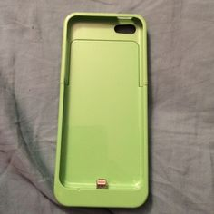 iPhone 5c rechargeable case and wallet case First case is green with two tiny nicks but, still in great condition! Second case is a purple wallet case which is brand new just without tags. Accessories Phone Cases