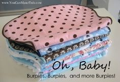 Burp clothes #baby this is how Julie came up with the idea to make the set she sent out with me. She made the burpies out of the blankets so it would all match
