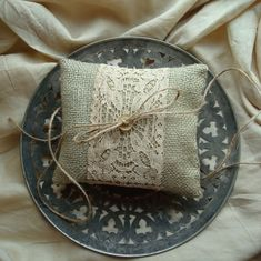 vintage rustic burlap ring pillow