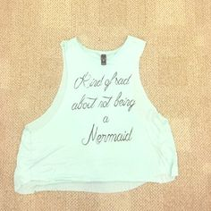 """Dainty Flowy """"Mermaid"""" Tank Turquoise Muscle Tank with """"Mermaid"""" caption in cursive detailed writing. WINDSOR Tops Tank Tops"""