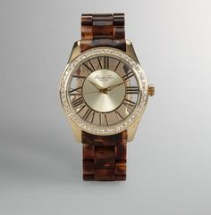 Oversized Watch With Faux Tortoiseshell Link Strap - Kenneth Cole