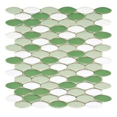 Merola Tile Cosmo Ellipse Glossy Hierba 10-1/4 in. x 12 in. x 8 mm Porcelain Mosaic Tile-FSHCEGH at The Home Depot