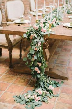 Pink and Gold Succulent Wedding pink rose and eucalyptus table garland wedding chicks Spring Wedding Centerpieces, Wedding Table Garland, Succulent Centerpieces, Wedding Table Decorations, Table Centerpieces, Flower Decorations, Table Wedding, Wedding Shoot, Succulent Table Decor