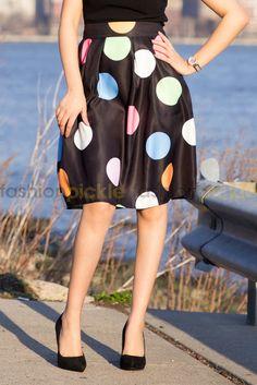 Midi Skirt pleated Multicolor Polka Dots