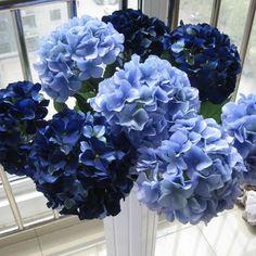 10 pcs Silk Hydrangea Navy Blue Wedding Flowers Tall Wedding Table Centerpieces, Home Decor, Artificial Hydrangea