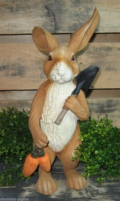 Bunny Rabbit Statue w Carrots Shovel Primitive French Country Easter Decor | eBay