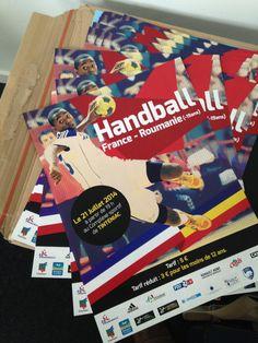 #Affiches #A3 | 135g couché brillant Copyright Un Coin de Pixel  http://www.uncoindpixel.com/projet_affiche_handball_france-roumanie_tinteniac.html